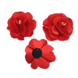 Floare 90 mm organza și roșu satinat