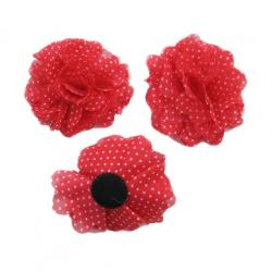 Flori roșii textile 90mm