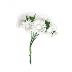 Textile flower bouquet 20x80 mm white color - 12 pieces