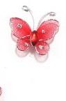 Пеперуда 25 мм червена с брокат - 5 броя