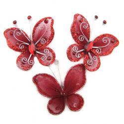 Пеперуда 50 мм червена с брокат