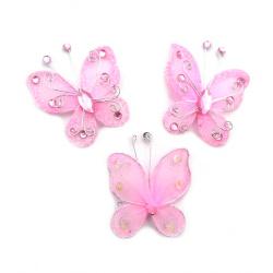 Пеперуда 50 мм розова с брокат