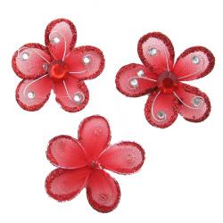 Цвете 50 мм червено с брокат