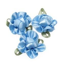 Цвете 20x28 мм с листо синьо -10 броя