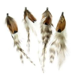 Feather for decoration 100 ~120 mm tip, gray brown - 1 piece