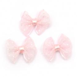 Панделка 23x20 мм органза розова светла с бели точки -5 броя