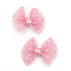 Ribbon 23x20 mm organza pink with white dots -5 pieces