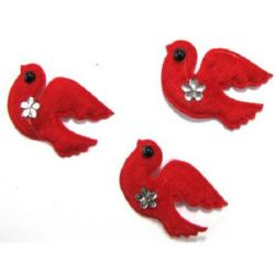 Птичка 50x35 мм червена кадифе -10 броя