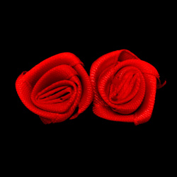 Rose flower head, cloth element for decoration of festive cards, DIY wreath, scrapbook craft 16x6 mm color red - 50 pieces