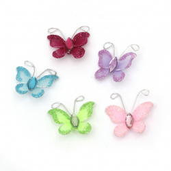Organza Wire Butterfly, Mixed Colors with Glitter ,25mm 5pcs