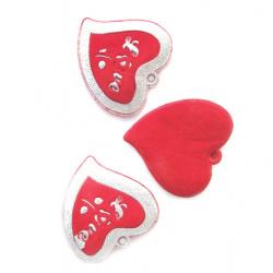 Сърце кадифе с брокат 45 мм червено -5 броя
