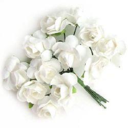 Роза букет хартия и тел 20x90 мм бяла -12 броя