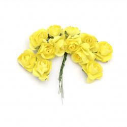 Τριαντάφυλλα 20 mm κίτρινο -12 κομμάτια