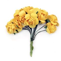 Bouquet of paper Roses with wire stems for decoration 20x80 mm yellow 2 -12 pieces