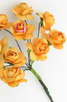 Rose bouquet of paper and wire 20 mm orange -12 pieces