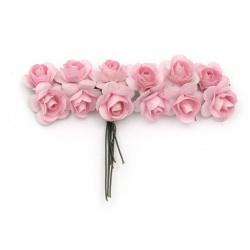 Роза букет хартия и тел 18 мм цвят розов светло -12 броя