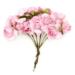 Bouquet of paper Roses with wire stems for decoration 20x80 mm pink 5 -12 pieces