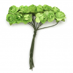 Bouquet of paper Roses with wire stems 15 mm green - 12 pieces