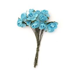 Bouquet of paper Roses with wire stems 15 mm blue - 12 pieces