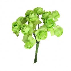 Buchet de trandafiri din hârtie și sârmă 15 mm verde deschis -12 bucăți