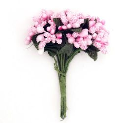 Bouquet of paper with wire stems 80 mm pink - 12 pieces