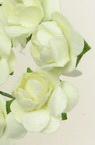 Роза букет хартия и тел 18 мм цвят светло жълт -12 броя