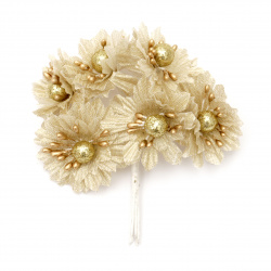 Λουλούδι 50x110 mm χρυσό / πέρλα -6 τεμάχια