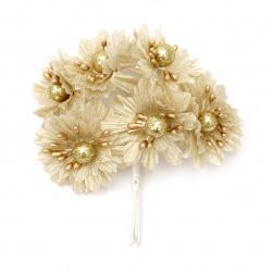 Цвете букет текстил ,перла 50x110 мм цвят злато -6 броя
