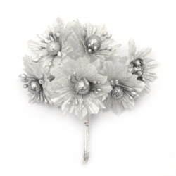 Glossy textile flower bouquet  with pearls 50x110 mm color silver - 6 pieces