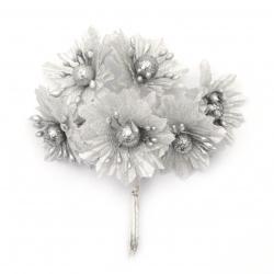 Цвете букет текстил ,перла 50x110 мм цвят сребро -6 броя