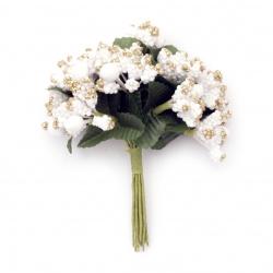 Λουλούδι 80 mm  λευκό / χρυσόσκονη-12 τεμάχια