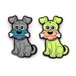 Figurină de cauciuc câine de 52x30x4 mm 2 tipuri cu clemă - 5 bucăți