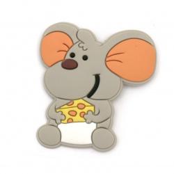 Figurină din cauciuc șoarece 50x50 mm cu clemă 20 mm -5 bucăți