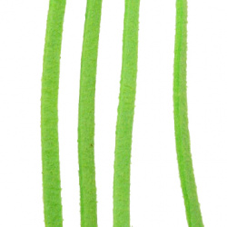 Natural Suede Cord, Jewellery Suede Lace, 3 mm green -5 meters