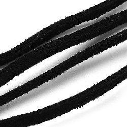 Σουέτ δερμάτινο κορδόνι 2,5x1,5 mm μαύρο -5 τεμάχια x 0,80 μέτρα