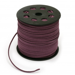 Natural Suede Cord, Suede Lace, Fl3x1.5 mm purple -5 meters