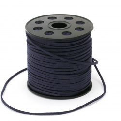 Natural Suede Cord, Suede Lace, Fl 3x1.5 mm color blue dark -5 meters