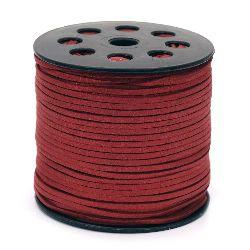 Σουέτ δερμάτινο κορδόνι 2,7x1,4 mm κόκκινο -5 μέτρα