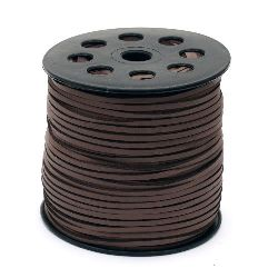 Лента велур естествен с кожа 2.7x1.4 мм цвят кафяв -5 метра