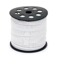 Natural Suede Cord,with leather, 2.7x1.4 mm color white -5 meters
