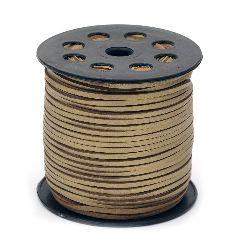 Лента велур естествен с кожа 2.7x1.4 мм цвят злато -5 метра