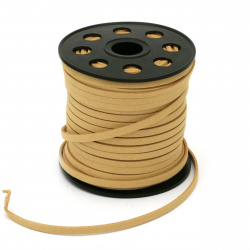 Natural Suede Cord 5x1.5 mm ocher color -5 meters