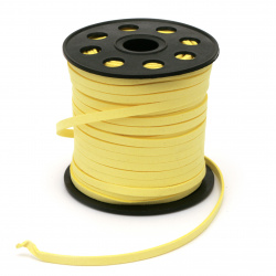 Natural Suede Cord 5x1.5 mm color yellow -5 meters
