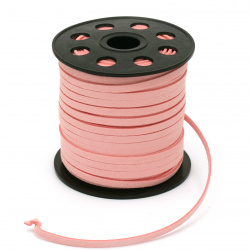 Natural Suede Cord 5x1.5 mm color pink light -5 meters