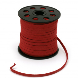 Natural Suede ribbon5x1.5 mm color red -5 meters