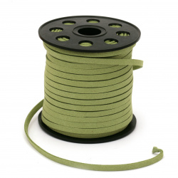 Natural Suede ribbon5x1.5 mm green grass -5 meters