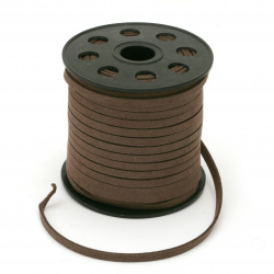 Natural Suede ribbon5x1.5 mm color dark brown -5 meters
