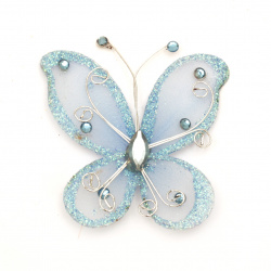 Fluture 70x60 mm cu albastru brocart
