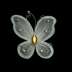 Πεταλούδα 70x60 mm κρεμ χρυσόσκονη