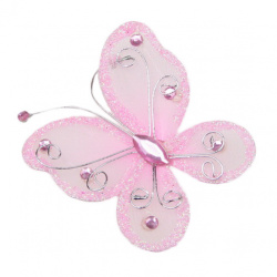 Organza Wire Butterfly with glitter For Home Decor, Party Accessories 70x60 mm  light pink